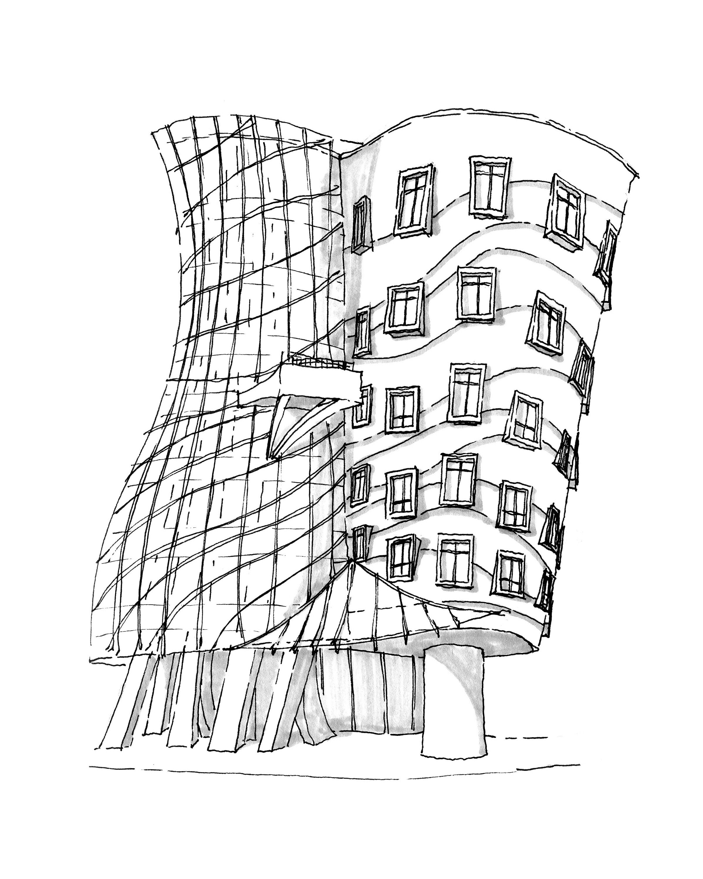 Hand drawn perspective of the fred dancing house designed by frank gehry prague czech republic spring 2012 architecture studio