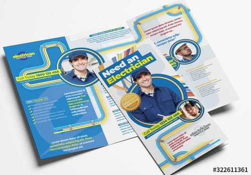 Electrician Trifold Brochure Layout with Electrical Elements , #AFF, #Brochure, #Trifold, #Electrician, #Elements, #Electrical #Ad