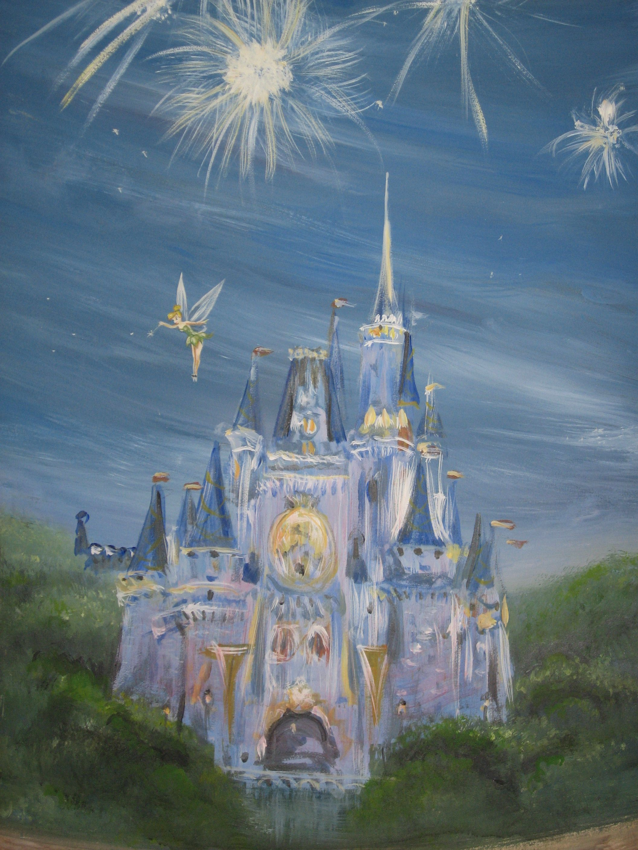 painted disney castle kids room wall murals pinterest