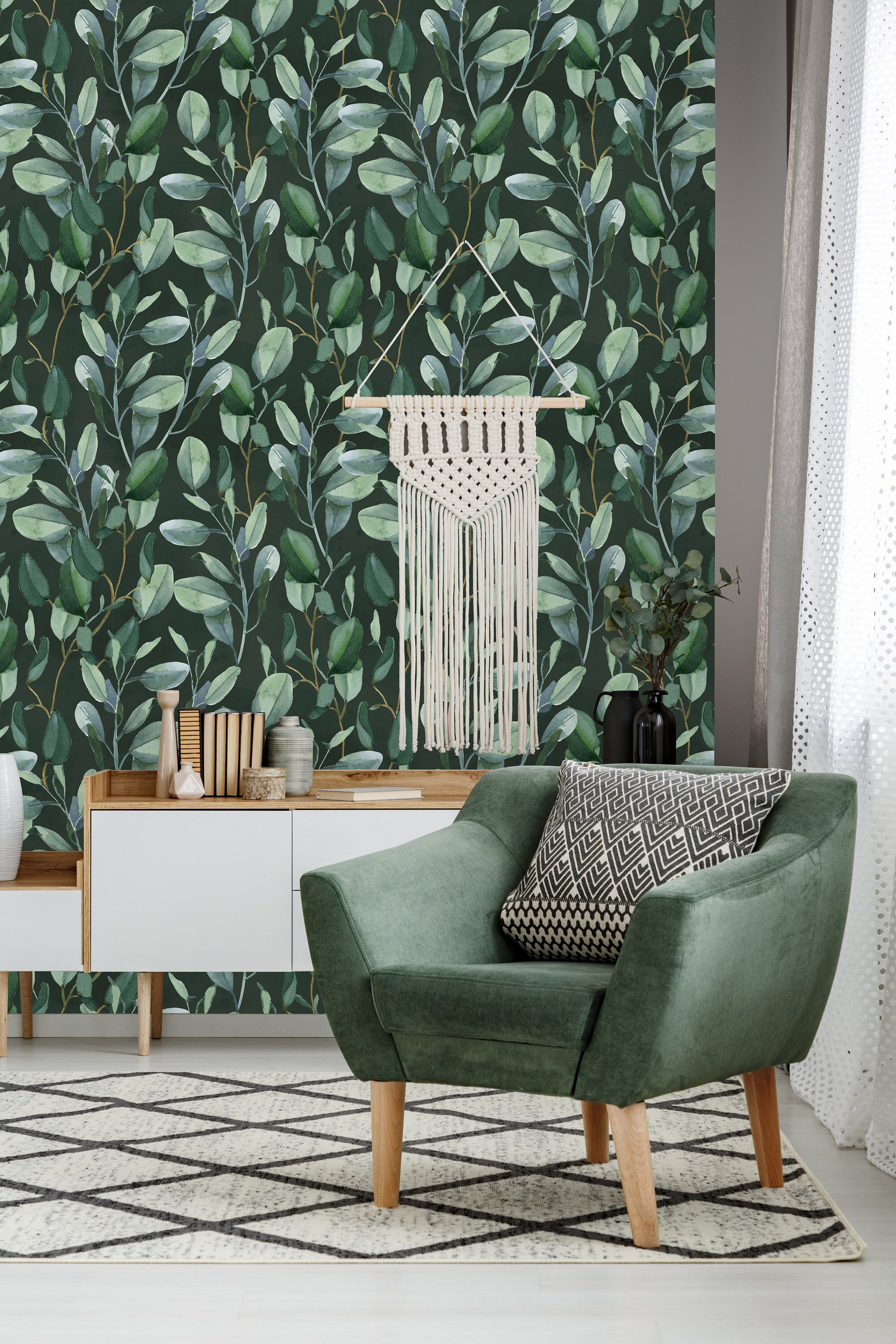Green Eucalyptus Leaves Removable Wallpaper Peel And Stick Etsy Self Adhesive Wallpaper Removable Wallpaper Wall Wallpaper