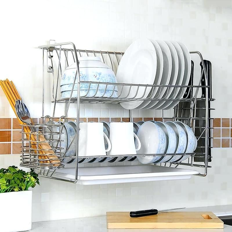 Wall Mounted Dish Drying Rack Sliver Stainless Steel Wall Mounted