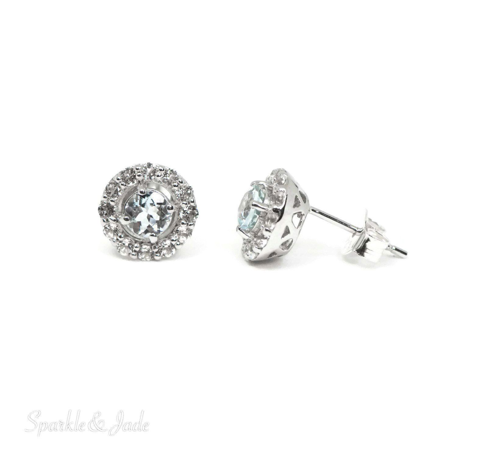 earrings jewelry white petite gold stud in round genuine mm aquamarine