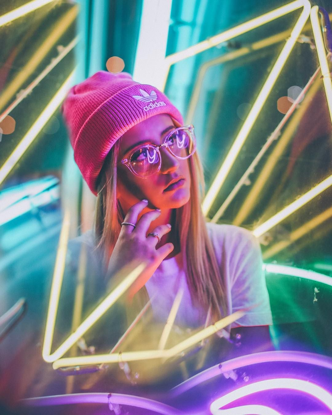 Neon Light Portrait On Behance: Night Neon Portrait Photography By Thedreamerseye