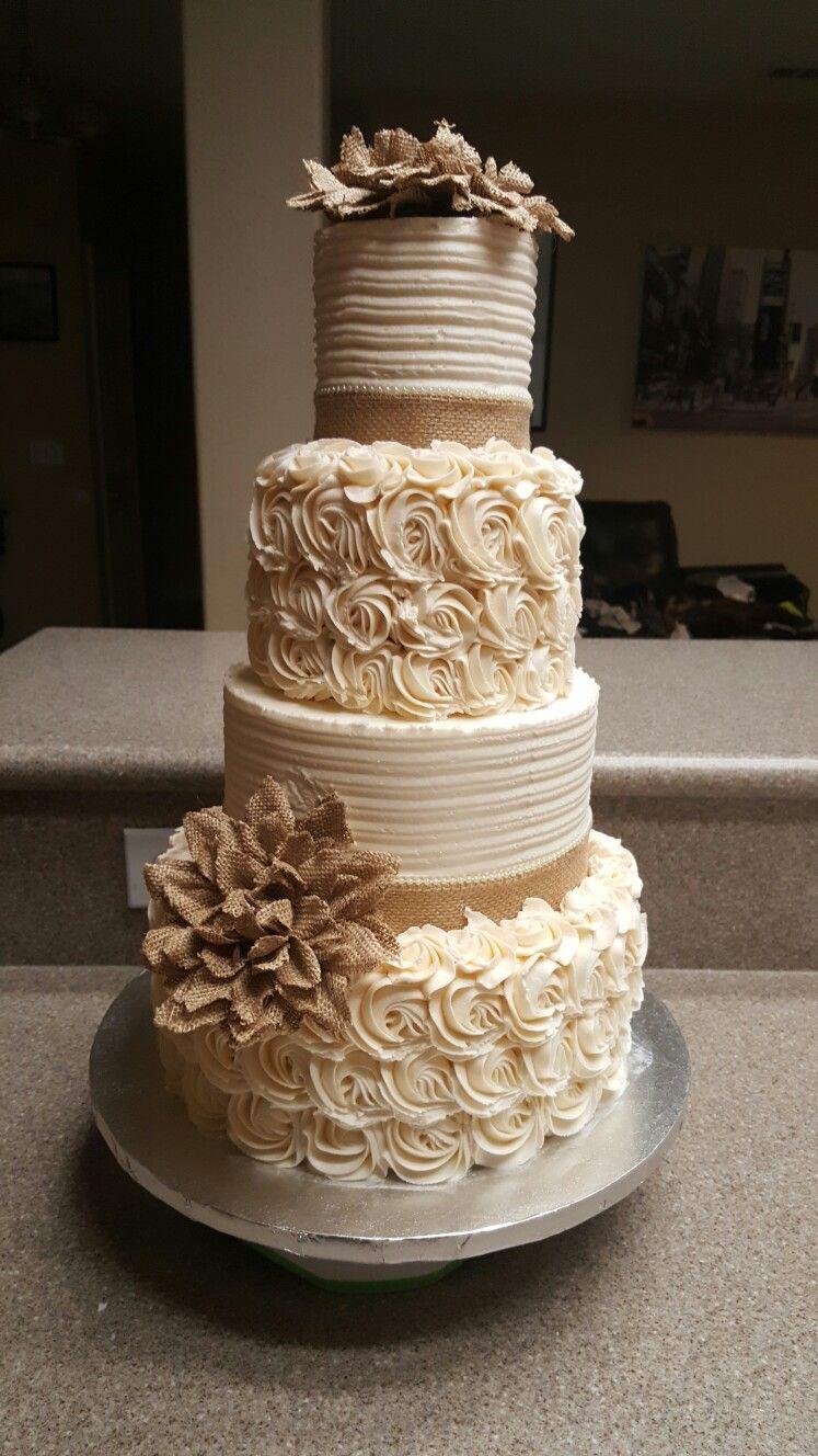 Rustic burlap buttercrean cake Wedding cake rustic, Cake