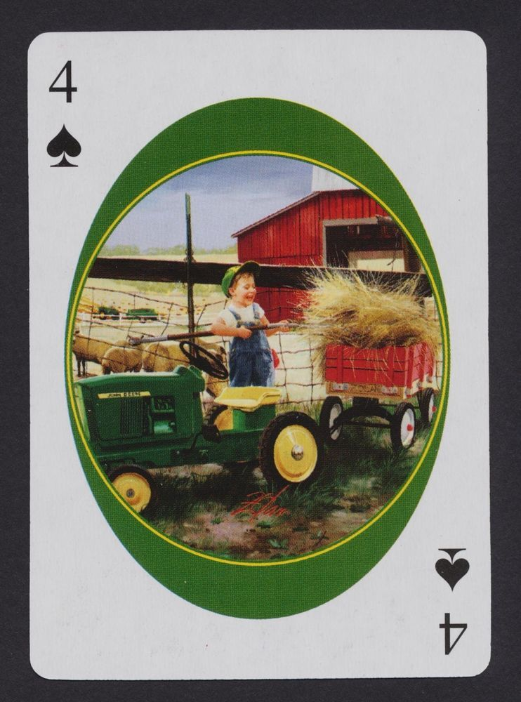 farmer boy John Deere toy tractor playing card single four of spades - 1 card