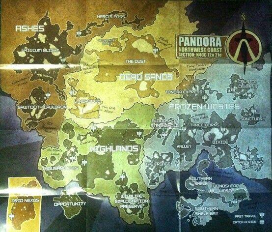 Map of Pandora  Borderlands 2 ftw | The Borderlands