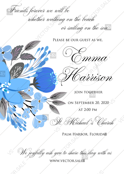 Wedding Invitation Card Template Blue Floral Anemone Pdf 5x7