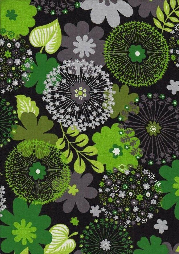 Stretch Jersey Pusteblumen Schwarz Grun Apfelgrun Pusteblume Blumen Stoffe Zum Nahen