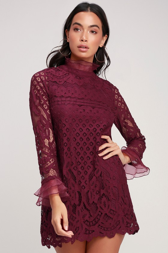 Love and Joy Burgundy Lace Long Sleeve Shift Dress in 2020 | Long