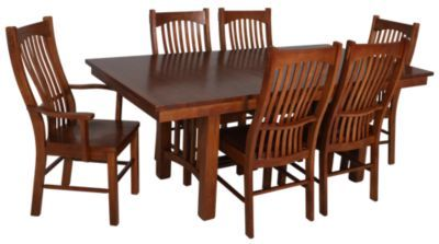 Dining Groups A America Laurelhurst 7 Piece Solid Oak Mission Set Homemakers Furniture
