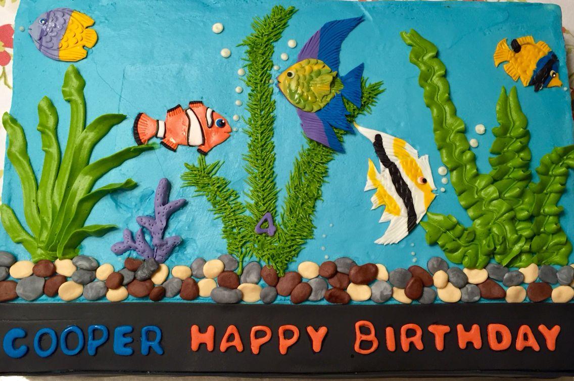 Terrific Birthday Fish Tank Theme Marble Cake 4Th Birthday Cakes Funny Birthday Cards Online Necthendildamsfinfo
