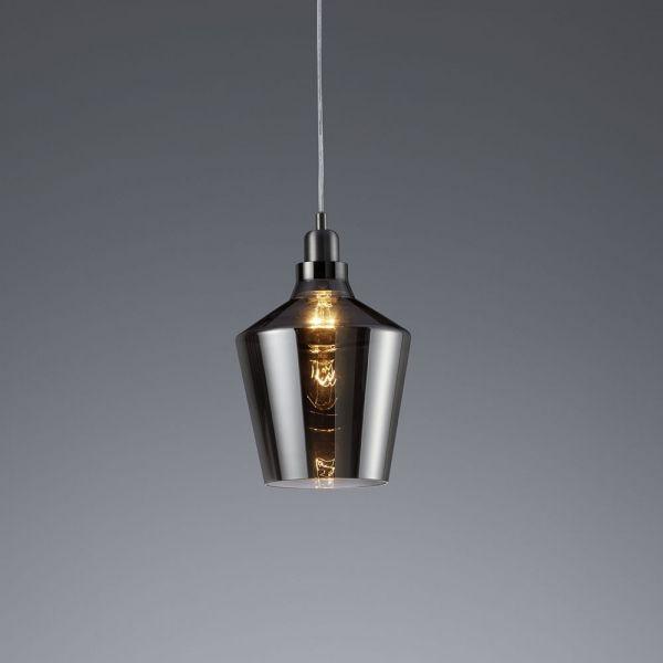Click Licht vintage pendelleuchte calais e27 glas aluminium rauchfarben trio