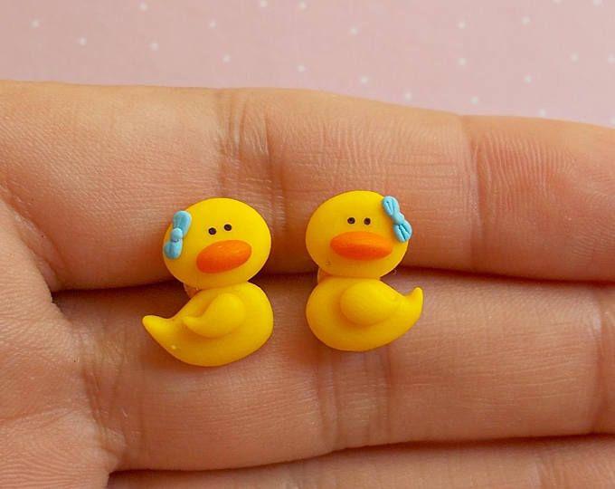 Duck earrings Animal stud earrings Kawaii jewelry Cute ...