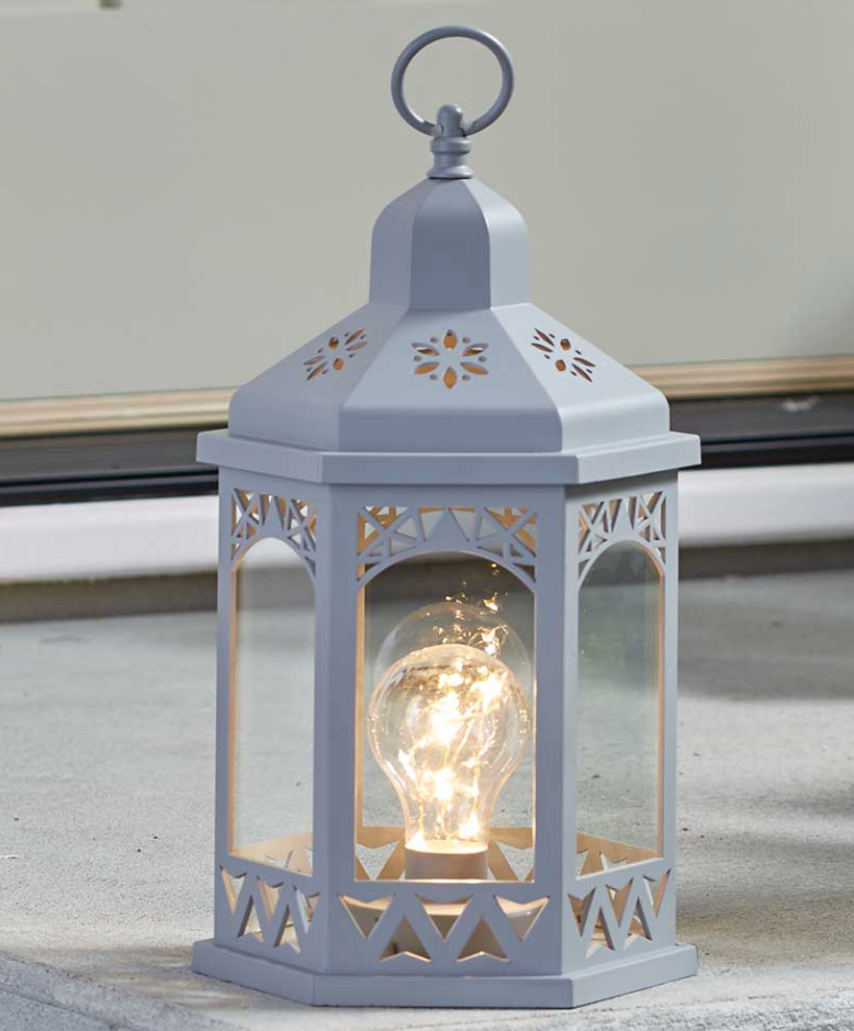 Indoor Outdoor Tabletop Hanging Lantern Fairy Light Battery Powered Plastic Gray Ebay Lantern With Fairy Lights Lantern Lights Fairy Lights