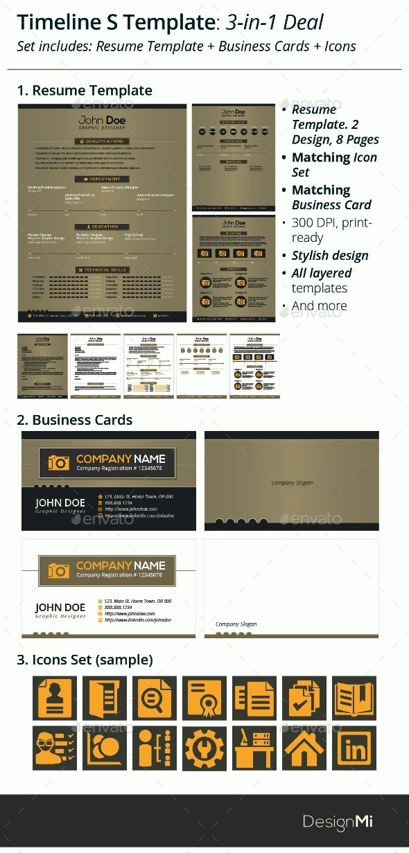 3-in-1 Deal Resume Template + Icons + Business Card, Timeline S - timeline resume
