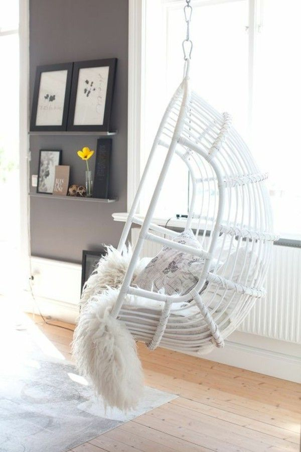 Incredible Garden Poly Rattan Frame Basket Hanging Chair White Painted Machost Co Dining Chair Design Ideas Machostcouk
