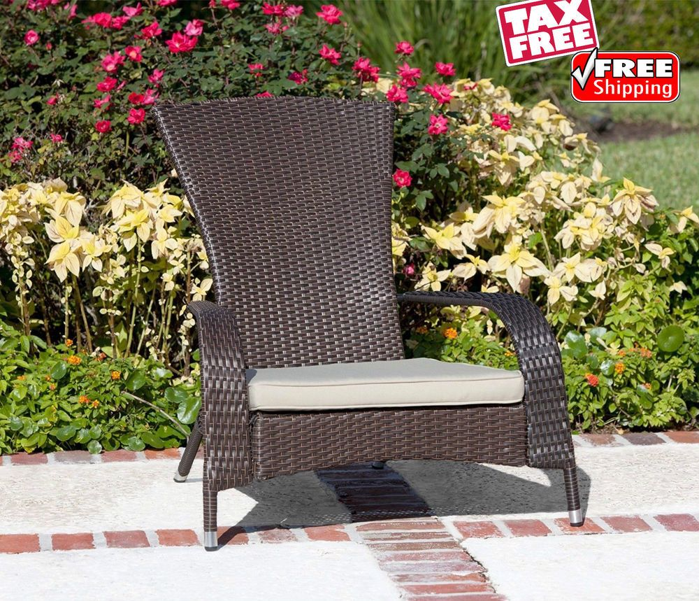 Patio Wicker Adirondack Lounge Chair Outdoor Garden Deck Lounger Cushioned Seat Patiowic Lounge Chair Outdoor Outdoor Chairs Adirondack Chairs Patio
