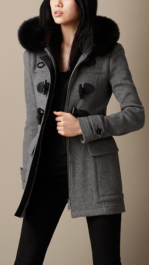 Women's Clothing | Burberry | Duffle coat, Fur trim and Fur