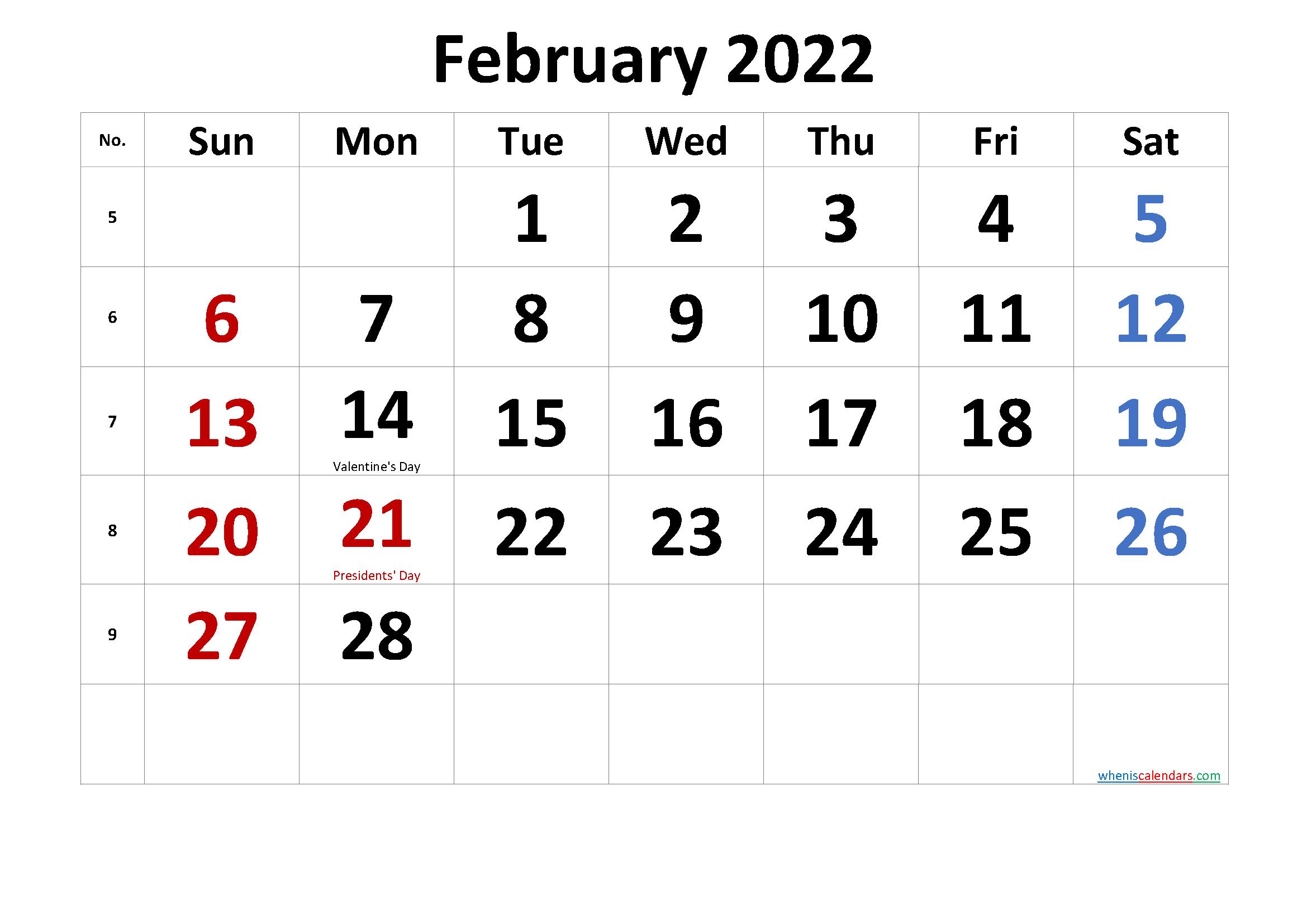 Calendar Feb 2022 Printable.Free Printable February 2022 Calendar Pdf And Png Calendar Printables Printable Calendar Template Calendar Word