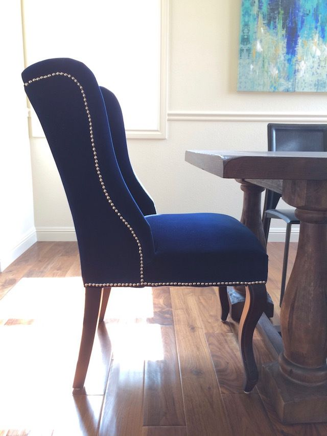 Eggshell Home Blue Velvet Modern Glam Dining Chair