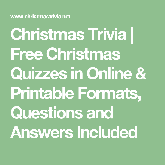 Christmas Trivia   Free Christmas Quizzes in Online & Printable