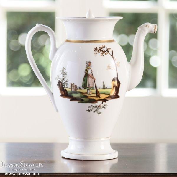 Antique China Love | 19th Century Vieux Paris Coffee Pot  | www.inessa.com