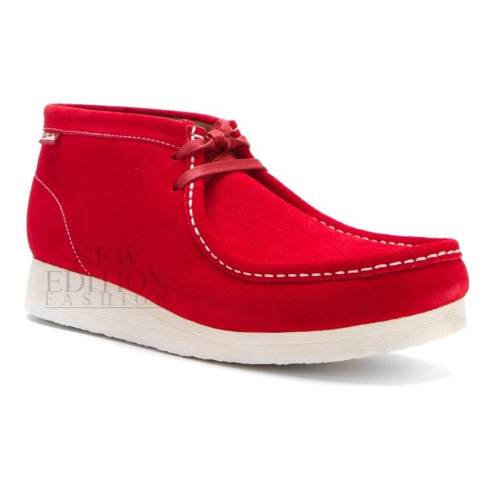 2a44f858589 Clarks Stinson Hi Men s Wallabee Style Suede Casual Shoes 65920 Red With  White