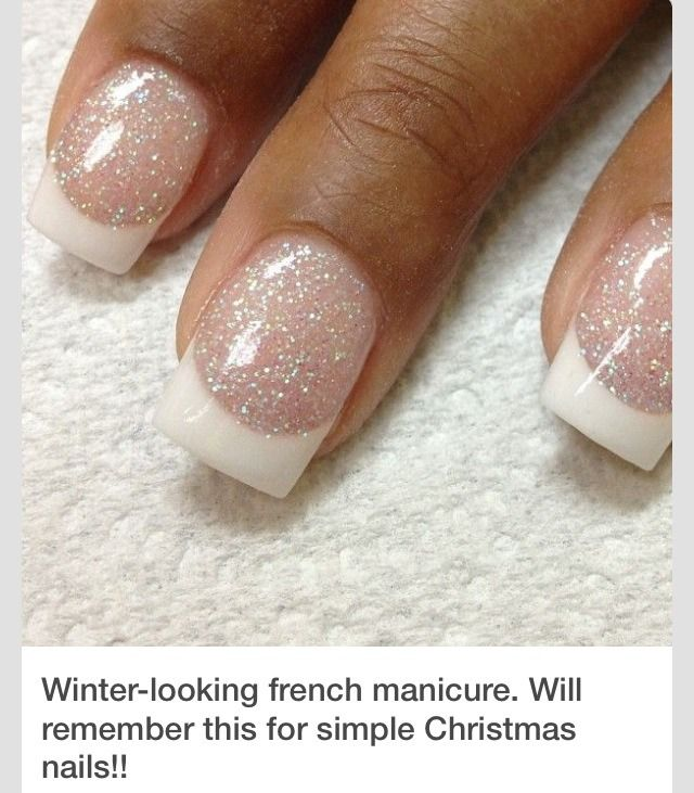 winter french tip nails
