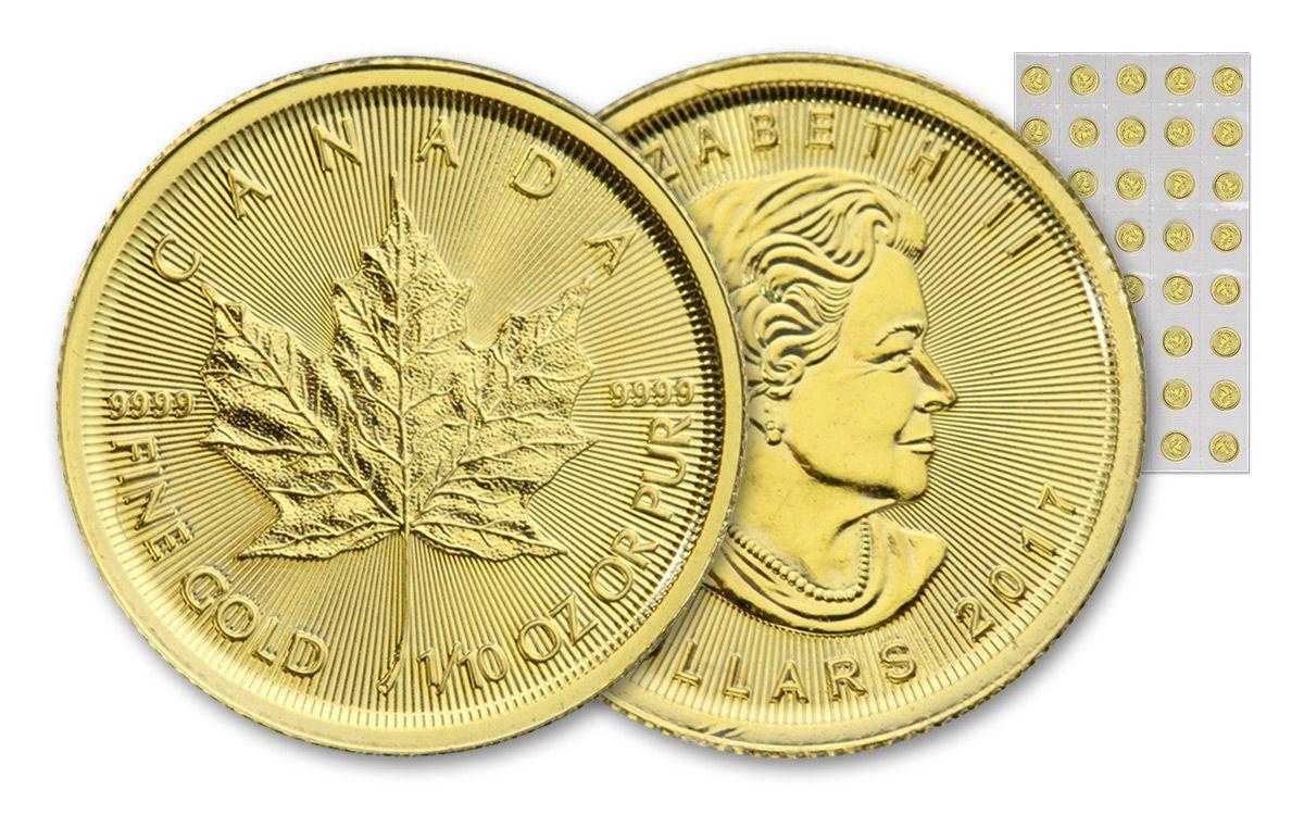 2017 Canada 5 Dollar 1 10 Oz Gold Maple Leaf Bu 40 Coin Sheet Govmint Com Coins Maple Leaf Art Pieces