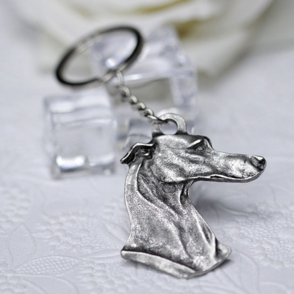 Metal Italian Galgo KeyChains Metal Greyhound Key Chain Dog Key rings for Dog Gift Jewelry M11030