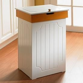 White Beadboard And Honey Country Style Kitchen Trash Bin Kitchen Trash Cans Wood Trash Can Country Kitchen