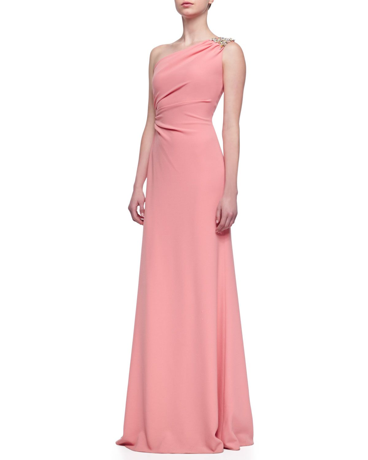 David Meister Beaded One-Shoulder Gown, Sorbet | Girly/Womanly-Stuff ...