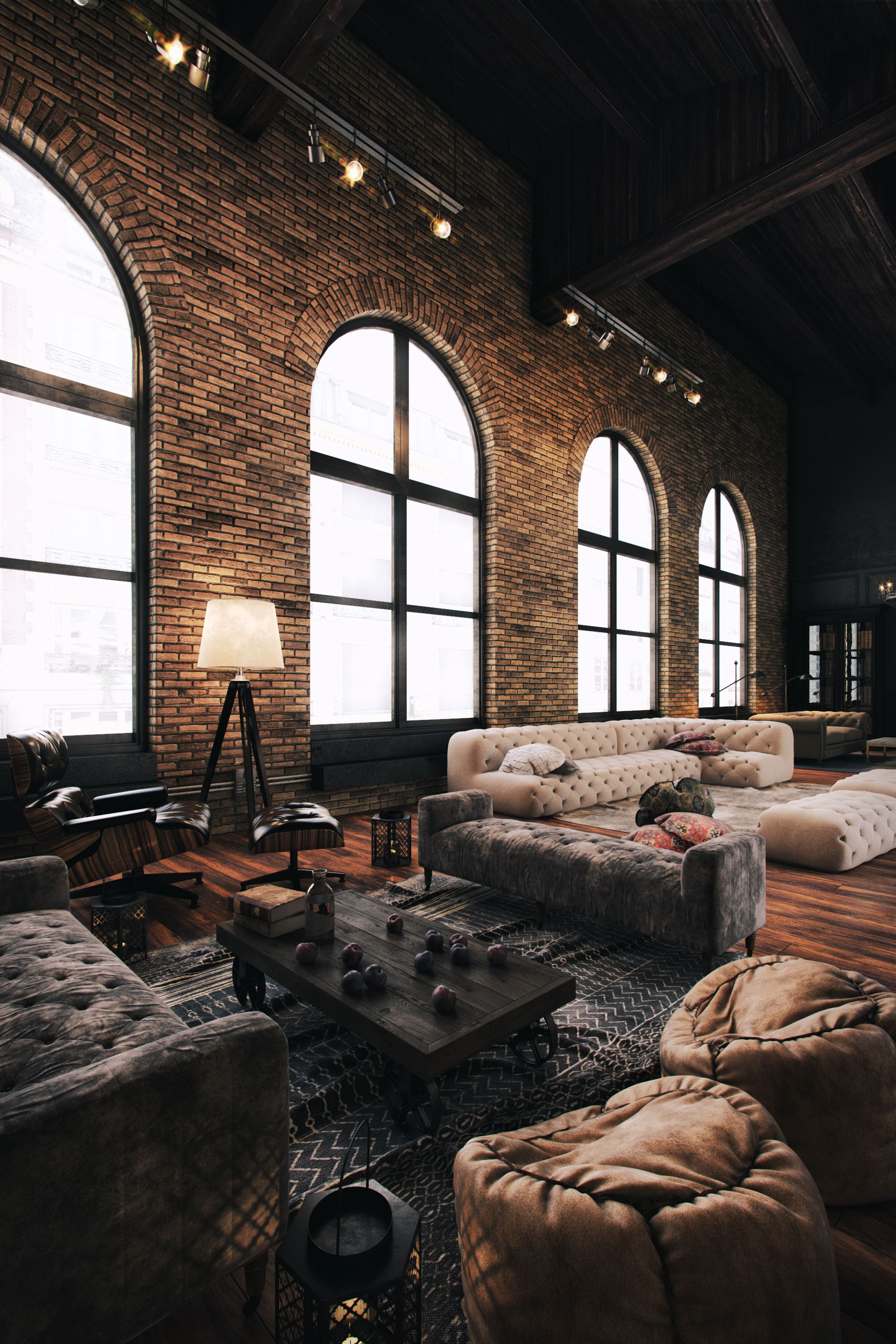 amazing loft space those sofas rugs lighting brick. Black Bedroom Furniture Sets. Home Design Ideas