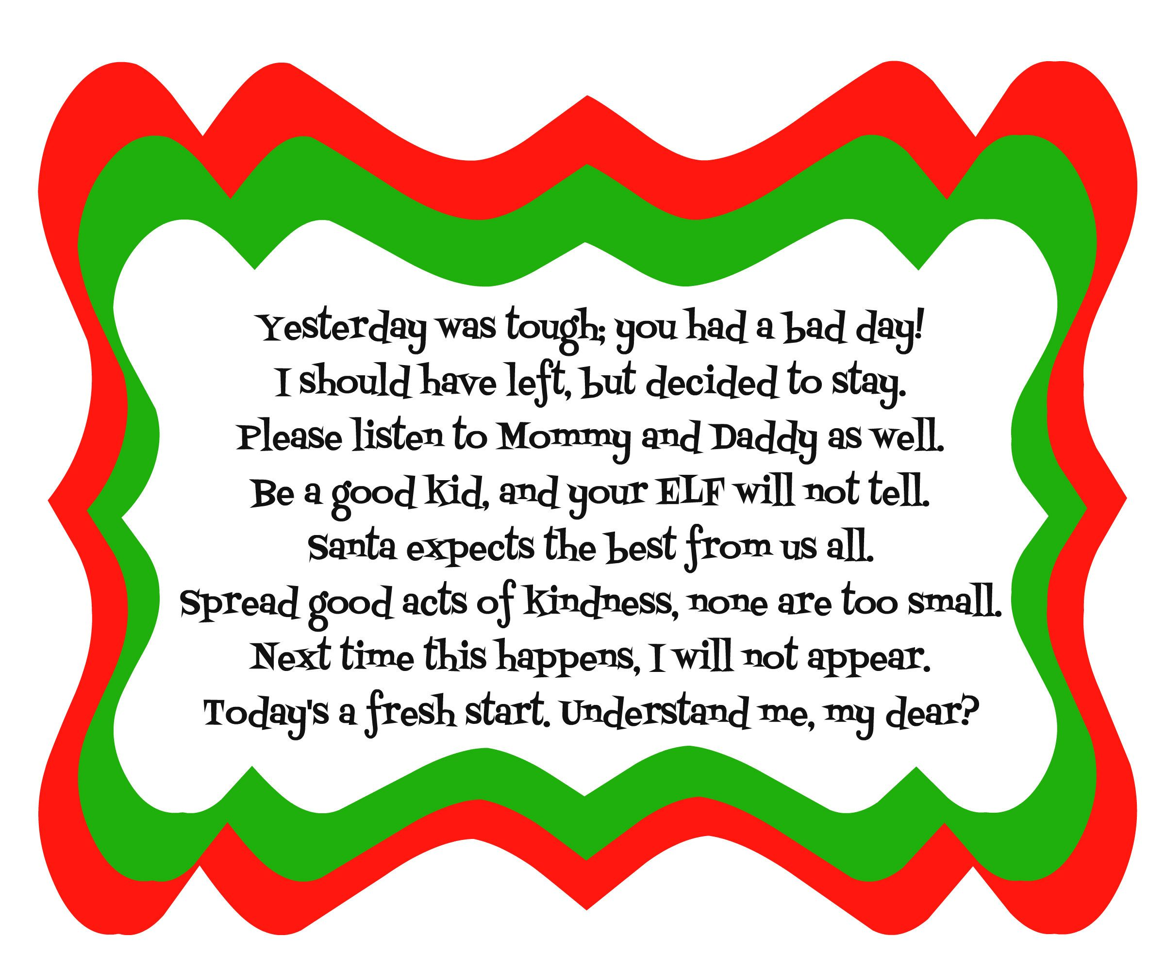 Elf on the Shelf Bad Day Poem with Printable