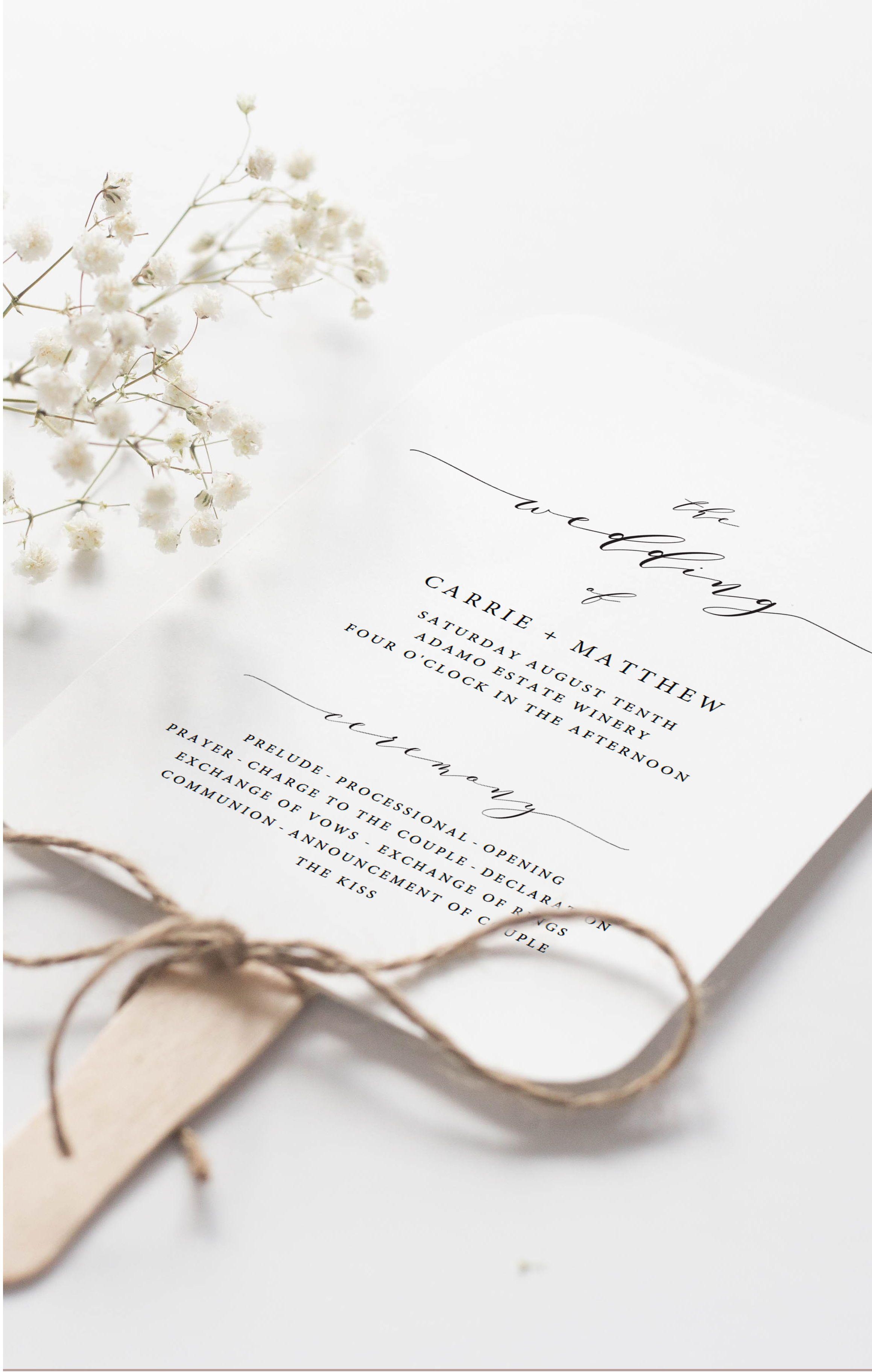 Editable Printable Wedding Program Templates