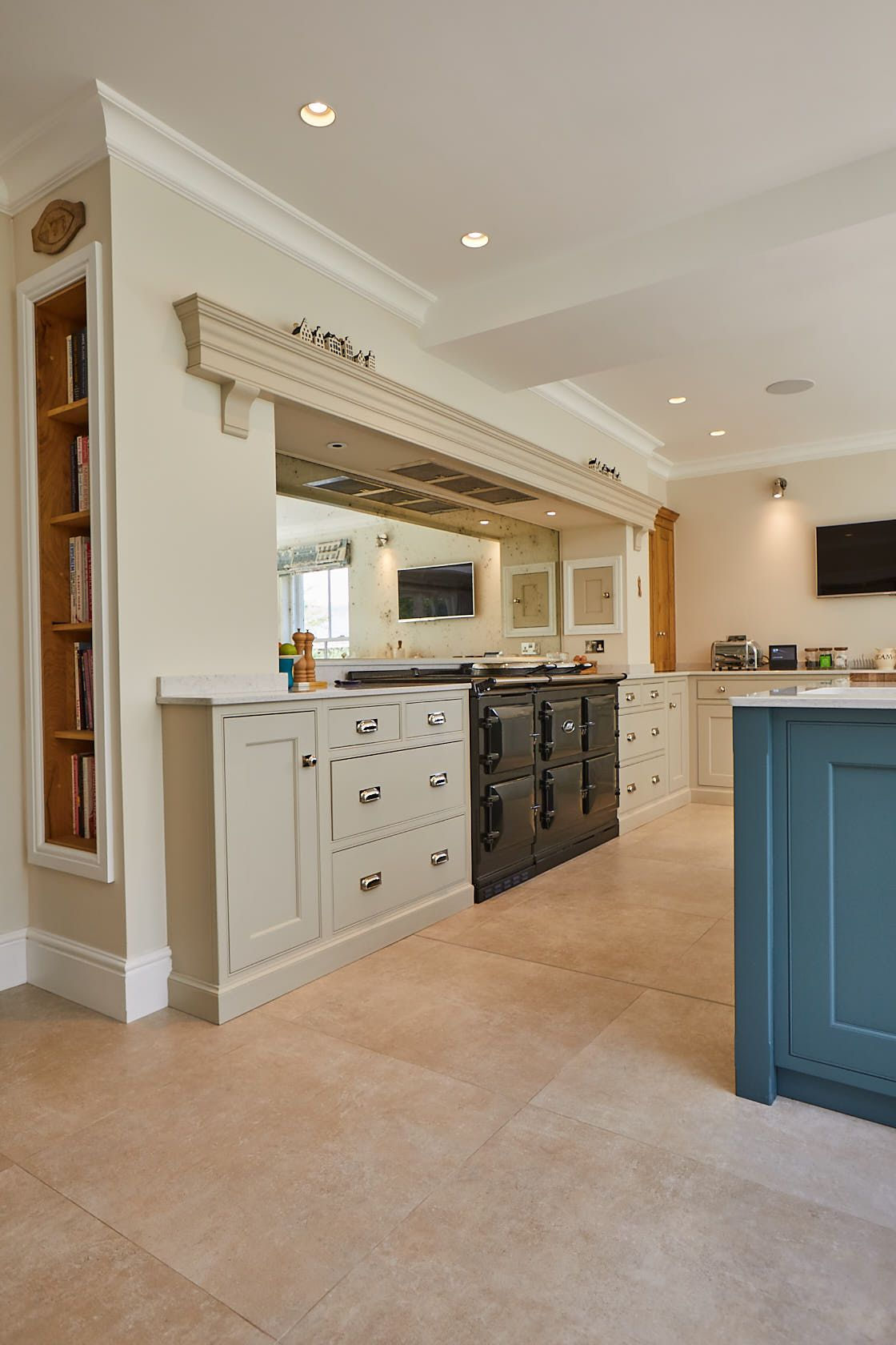 Painted Cabinets And Black Aga In 2020 Elegant Kitchen Design Bespoke Kitchen Cabinets Bespoke Kitchens