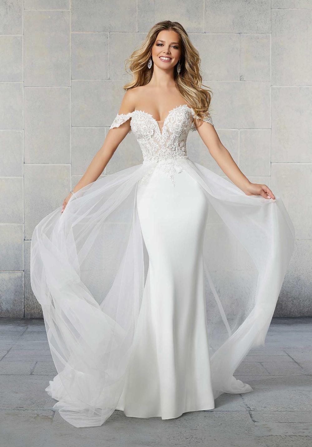 Detachable Train Wedding Dress, Tulle Overskirt, Off the