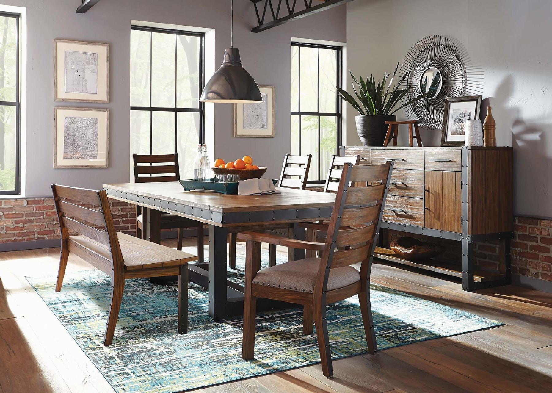Atwater Table Dining Table With Bench Black Dining Room