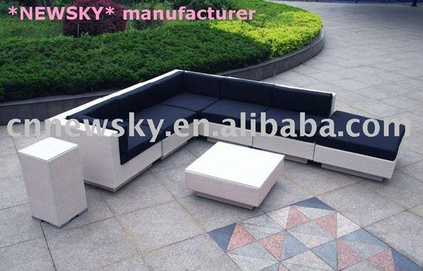 Outdoor jardín conjunto de sofás muebles de ratan salón grande ...