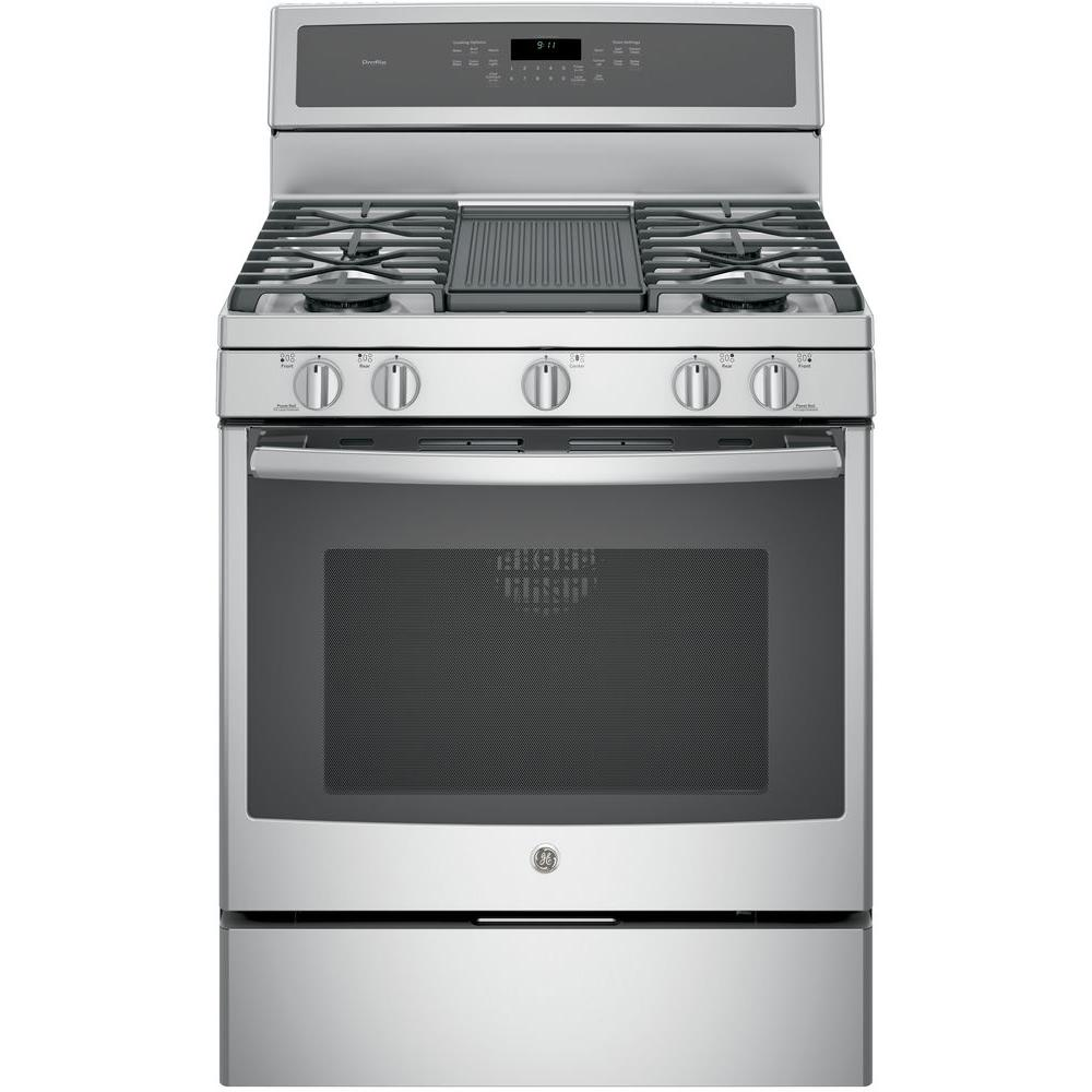 Ge Profile 30 In 5 6 Cu Ft Gas Range With Self Cleaning