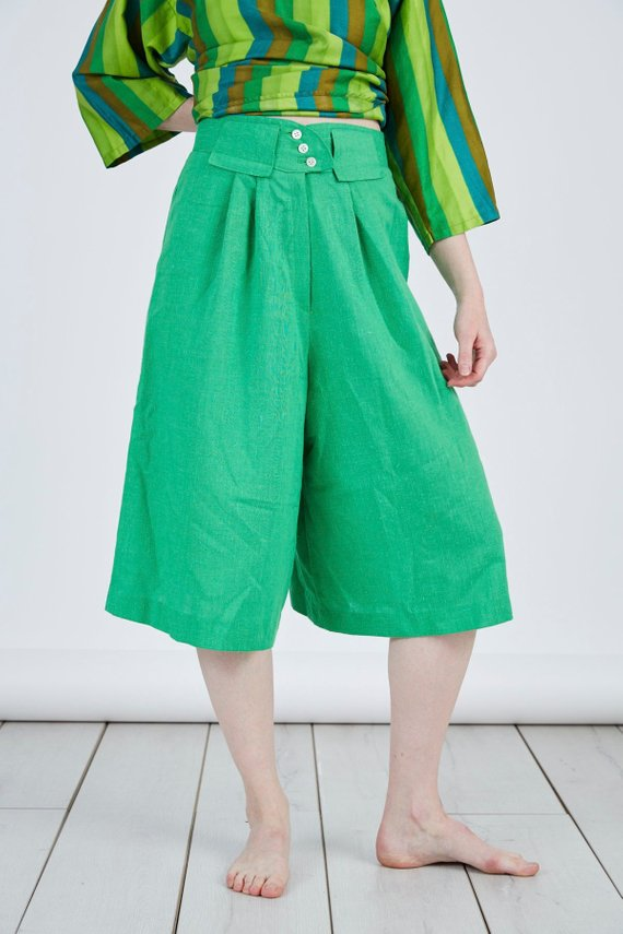 56e4fa8e486283 Vintage 70s Culottes Gauchos in Green High Waisted Trousers Pants in ...