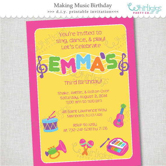 Music party invitation printable digital file or printed music party invitation printable digital file or printed invitations with envelopes free shipping stopboris Image collections
