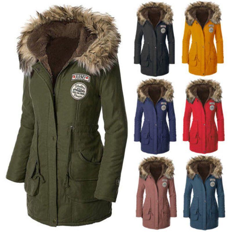 Trendy Women Warm Long Coat Fur Collar Hooded Quilted Jacket Slim ...