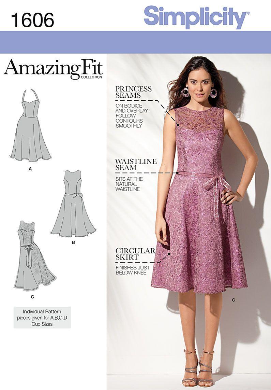 Simplicity 1606 Misses and Petite Dress | Nähen, Nähideen und Kleider