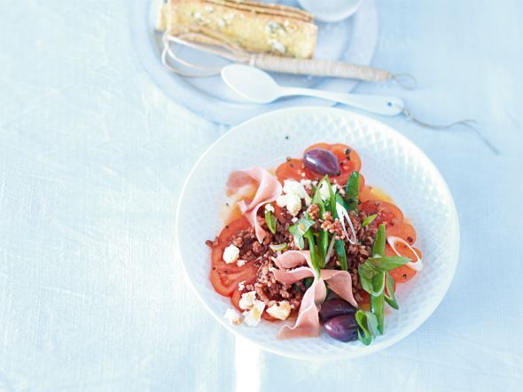 Lowcarb und Diät Rezepte: Sättigende Salate - Roter-Reis-Salat mit Oliven