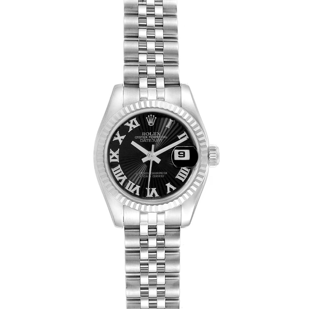 Rolex Datejust Steel White Gold Black Sunbeam Dial Ladies Watch 179174