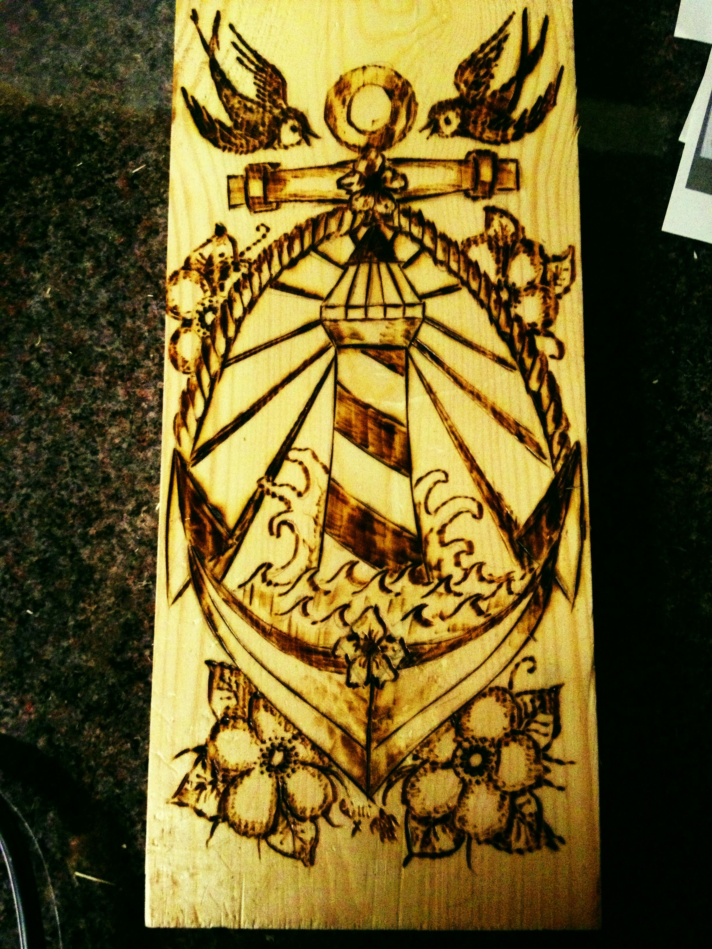 Lighthouse American Traditional Tattoo: Anchor Lighthouse Tattoo Style Pyrography
