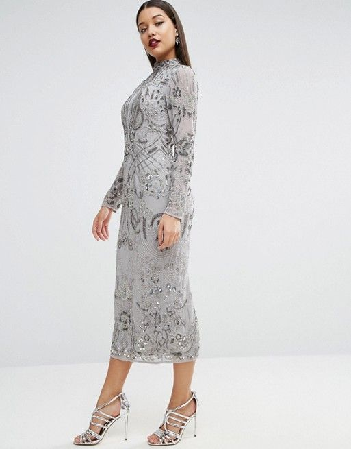 Cool ASOS RED CARPET High Neck Embellished Floral Midi Dress silver grey for weddings