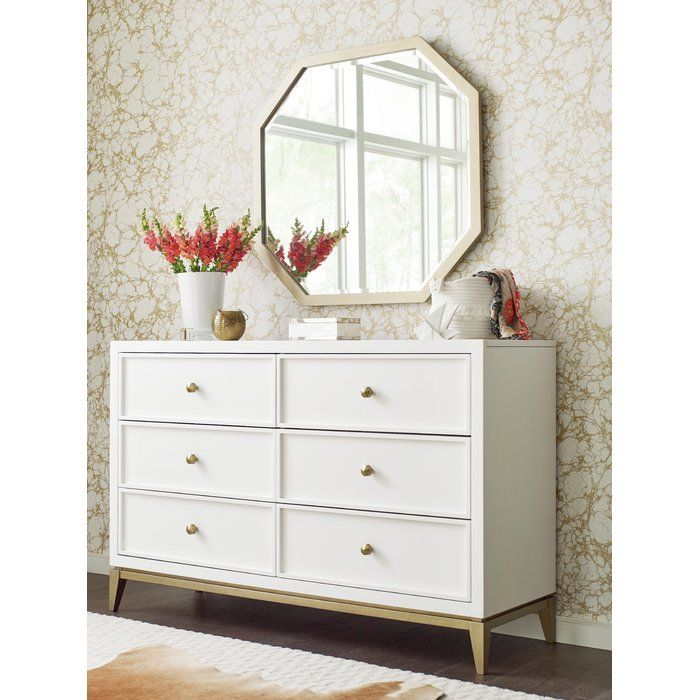 Rachael Ray Home 6 Drawer Double Dresser With Mirror Wayfair White And Gold Dresser White