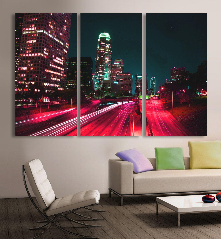 Los Angeles Home Decor: Downtown LA, Los Angeles City Skyline Canvas Print. 3